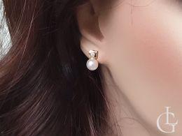 kolczyki złote na uchu perły cyrkonie zapięcie wkrętki złoto żółte