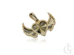 wisiorek złoty skrzydła anioła anioła serce serduszko zawieszka diamentowana na łańcuszek złoto żółte 0.585 14ct