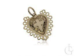 złoty medalik serce krzyż krzyżyk serduszko otwierany wisiorek na łańcuszek złoto żółte komunia chrzest prezent