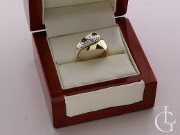 złoty ekskluzywny duży szeroki pierścionek w pudełkui złoto żółte złoto białe próba 0.585 pierścionki złote ekskluzywne duże szerokie