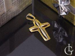 złoty krzyżyk duży na łańcuszek prezent z okazji chrztu pierwszej komunii świętej złoto żółte próba 0.585 14ct