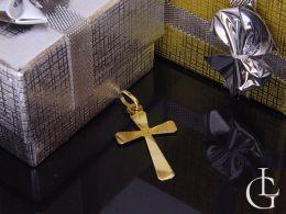 złoty krzyżyk diamentowany na łańcuszek pamiątka chrztu, pierwsza komunia święta złoto żółte próba 0.585