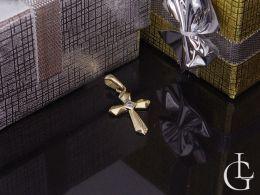 złoty krzyżyk na łańcuszek złoto żółte i białe 0.585 pamiątka chrztu, pierwsza komunia święta, prezent dla dziecka