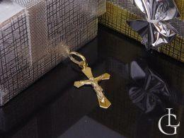 złoty krzyżyk z Panem Jezusem złoto żółte próba 0.585 14ct pamiątka chrztu, Komunia Święta