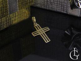 złoty krzyżyk ażurowy na łańcuszek prezent na komunię lub chrzest złoto żółte klasyczne próba 0.585 14ct