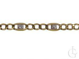 złoty łańcuszek splot figaro diamentowany złoto żółte i białe próba 0.585 14ct