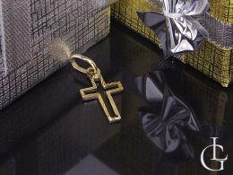 złoty krzyżyk diamentowany na łańcuszek złoto żółte próba 0.585 14ct