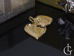 złoty medalik serce Matka Boska serduszko otwierany wisiorek na łańcuszek złoto żółte komunia chrzest prezent