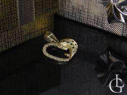 złoty medalik serce z Matką Boską cyrkonie na łańcuszek złoto żółte próba 0.585