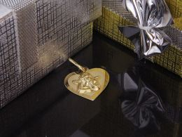 złote serduszko na łańcuszek z aniołkiem złoto żółte 0.585 14K