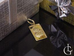 medalik złoty z Matką Boską Częstochowską i Dzieciątkiem Jezus kształt prostokąt złoto żółte próba 0.585 14ct