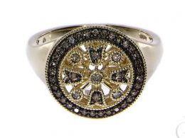 pierścionek złoty zaręczynowy z brylantami diamentami brylant diament czarne diamenty czarny diament zaręczyny złoto żółte 14K 0.585 pierścionek na palcu w pudełku realne zdjęcie zdjęcia pierścionek zaręczynowy na rocznicę pamiątkę mikołaja pod choinkę pr