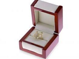 złoty pierścionek ekskluzywny duży szeroki z cyrkoniami w pudełku złoto żółte 0.585 14ct