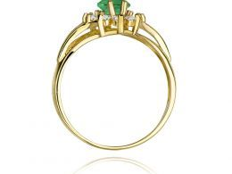 złoty pierścionek markiza na zaręczyny szmaragd naturalny i brylanty złoto żółte próba 0.585 14ct pierścionek na palcu dłoni realne zdjęcie pierścionek pod choinkę na rocznicę dla żony dziewczyny walentynki mikołaj