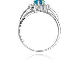 złoty pierścionek markiza na zaręczyny topaz naturalny i brylanty złoto białe próba 0.585 14ct pierścionek na palcu realne zdjęcie pierścionki zaręczynowe na prezent dla dziewczyny żony rocznicę pod choinkę na walentynki