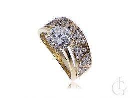 złoty pierścionek podwójny obrączka z cyrkoniami złoto żółte próba 0.585