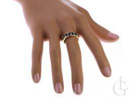 złoty pierścionek obrączka z szafirem na palcu szeroka szyna pierścionka obrączki złoto klasyczne żółte próba 0.585 14K