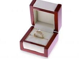 złoty pierścionek podwójny obrączka z cyrkoniami w pudełku złoto żółte próba 0.585