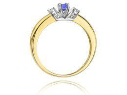 pierścionek złoty z tanzanitem tanzanit brylantami diamentami brylant brylanty diamenty pierścionek w pudełku realne zdjęcie