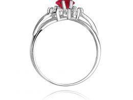 złoty pierścionek zaręczynowy z rubinem i brylantami duża korona markiza złoto białe próba 0.585 14ct pierścionek na palcu dłoni realne zdjęcie prezent dla żony dziewczyny