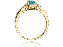 złoty pierścionek z topazem naturalnym serce serduszko korona topaz brylanty diamenty ekskluzywny duża korona zaręczyny pierścionek zaręczynowy prezent
