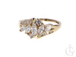 ekskluzywny złoty pierścionek nowoczesny wzór cyrkonie złoto żółte klasyczne próba 0.585 14ct