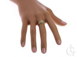 pierścionek złoty zaręczynowy złoty ekskluzywny wzór cyrkonie złoto żółte próba 0.585