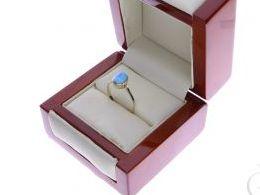 pierścionek złoty opal naturalny błękitny niebieski złoto żółte 14K 0.585 pierścionek na palcu w pudełku realne zdjęcie zdjęcia pierścionek zaręczynowy na rocznicę pamiątkę mikołaja pod choinkę