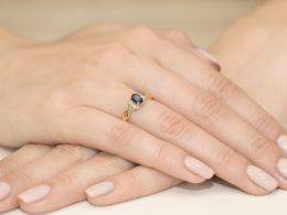 złoty pierścionek zaręczynowy z szafirem naturalnym złoto żółte próba 0.585 14ct szafir diament pierścionek złoty na prezent rocznicę dla dziewczyny żony