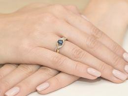 pierścionek zaręczynowy z szafirem naturalnym i brylantami szafir diamenty brylanty pierścionek na prezent dla żony dziewczyny na rocznicę urodziny
