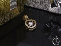 złoty wisiorek zawieszka kółko kółeczko z cyrkoniami cyrkonie na łańcuszek złoto żółte próba 0.585