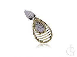 złoty ekskluzywny wisiorek damski z żółtego i białego złota zawieszka diamentowana złoto próba 0.585