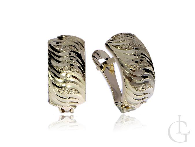 Złote kolczyki pr.0,585 na angielskie zapięcia diamentowane