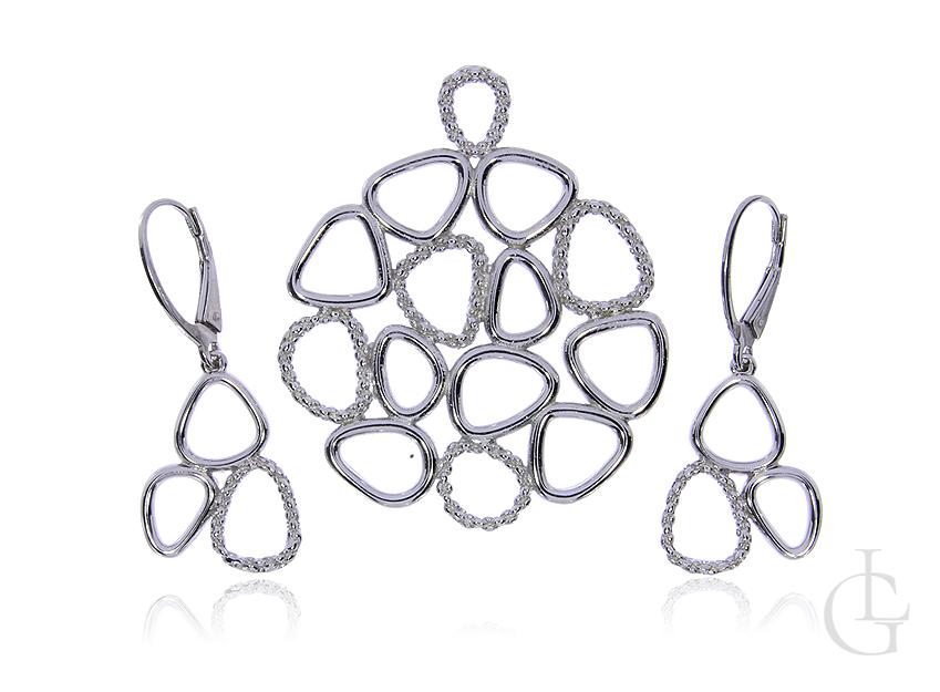 Komplet biżuterii ze srebra rodowanego pr.0,925 kolczyki wisior