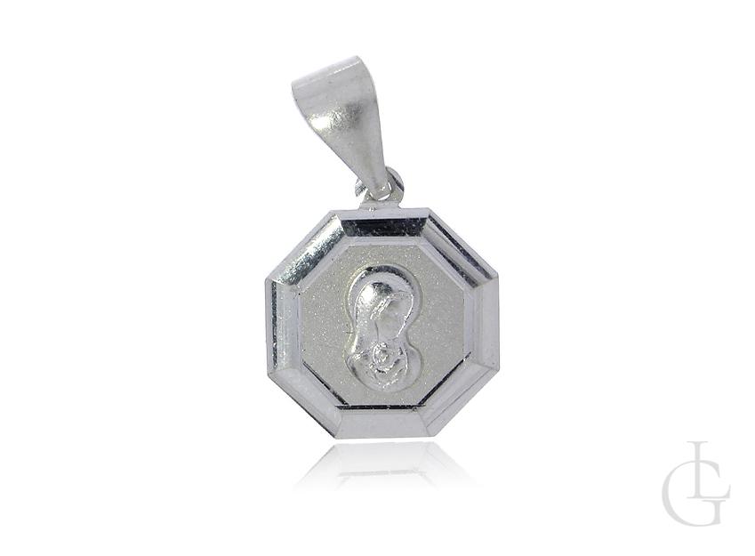 Srebrny medalik pr.0,925 z wizerunkiem Matki Bożej