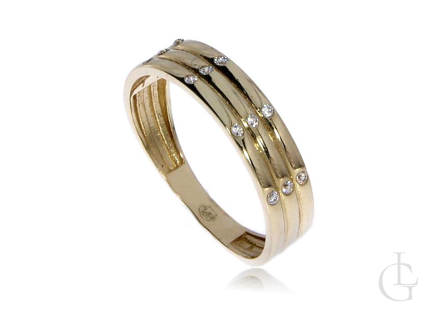 Pierścionek obrączka z cyrkoniami złoto pr.0,585