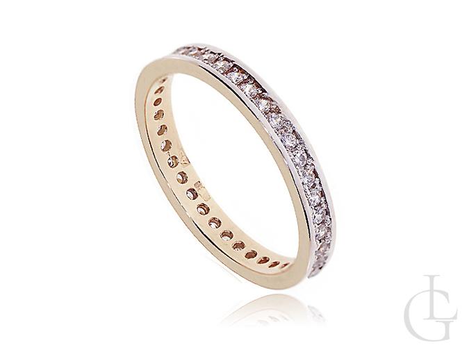 Złoty pierścionek obrączka z cyrkoniami