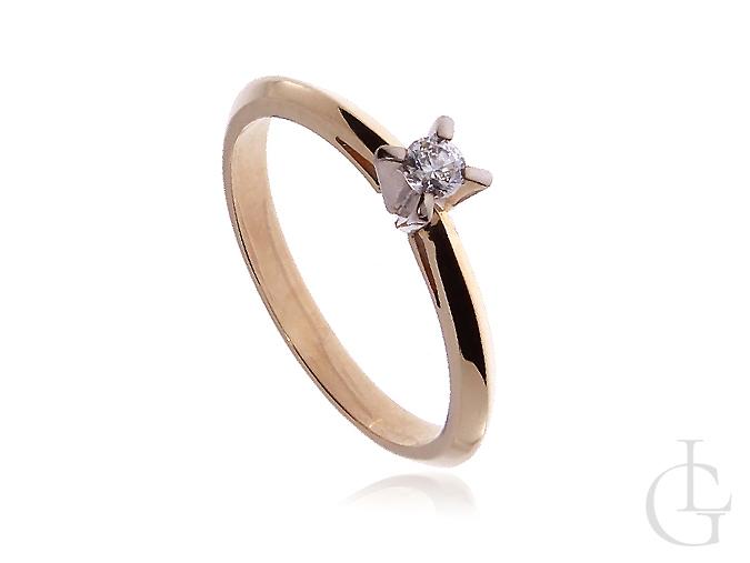 Złoty pierścionek zaręczynowy z żółtego i białego złota
