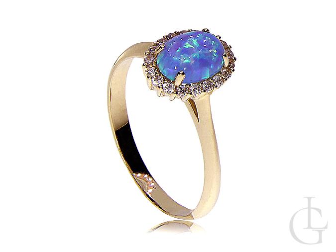 Złoty Pierścionek Zaręczynowy Z Opalem Opal Naturalny Niebieski