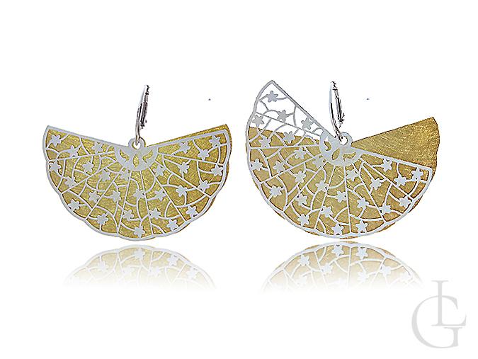 Eleganckie srebrne pozłacane kolczyki wiszące