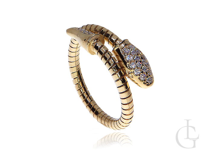 Niesamowity wąż pierścionek srebrny złocony z cyrkoniami