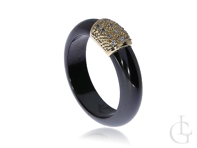 4f40d69e6fd5b3 Obrączka pierścionek z ceramiki i złota żółtego 0.585 14K - LipGold