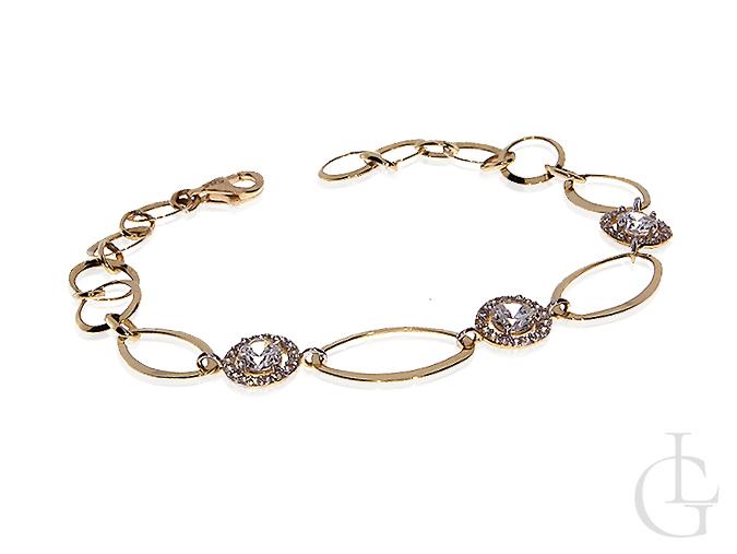 Elegancka złota bransoletka z cyrkoniami w kółkach