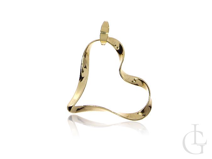 7be0974179c0b7 Złote serce duże wisiorek na łańcuszek złoto żółte 0.585 - LipGold