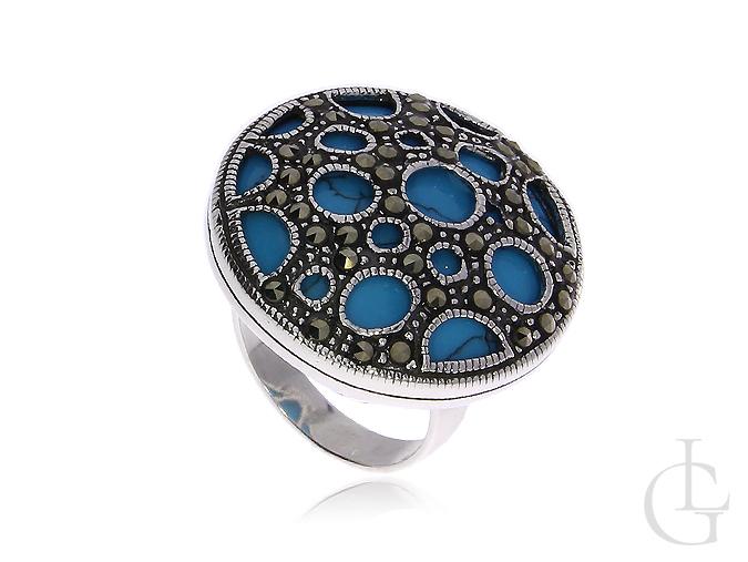 Srebrny oksydowany pierścionek z turkusem i markazytami