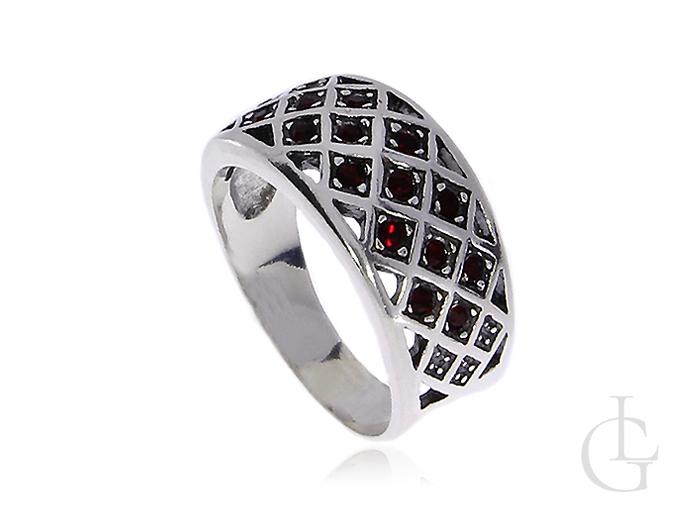 633baed4ae0a4d Pierścionek srebrny obrączka damski czerwone cyrkonie srebro 0.925 ...