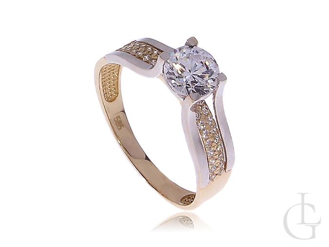 Ekskluzywny Duży Pierścionek Zaręczynowy Złoty Białe Złoto I żółte