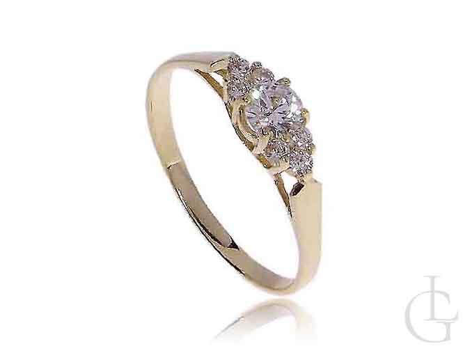 Pierścionek zaręczynowy złoty z kamieniami