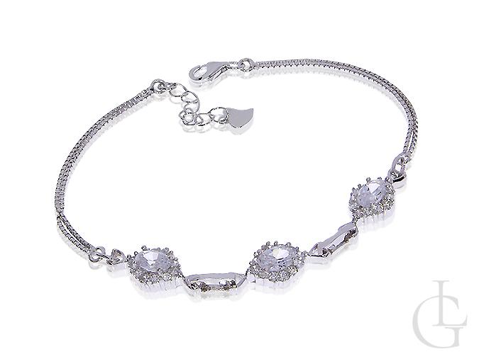 294ced32592e15 Ekskluzywna srebrna rodowana bransoletka damska z kamieniami