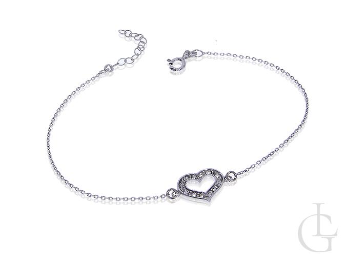 Zaktualizowano Celebrytka bransoletka łańcuszek srebro rodowane serce przywieszka HL83